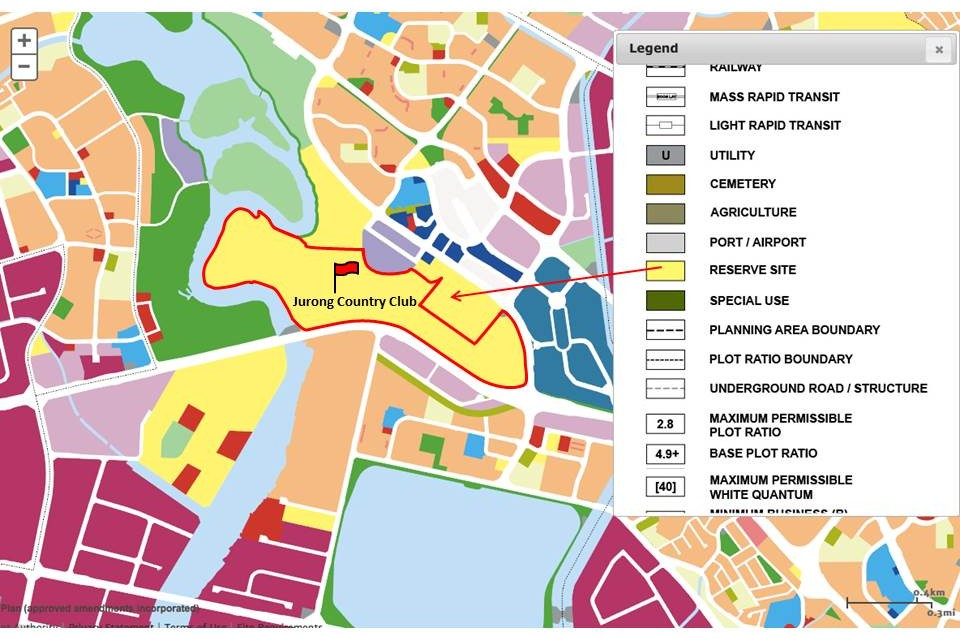 Jurong Country Club zoned 'reserve site' in URA's Master Plan 2014.